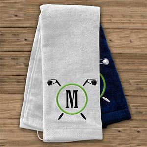 Embroidered Golf Clubs Initial Golf Towel-Personalized Gifts