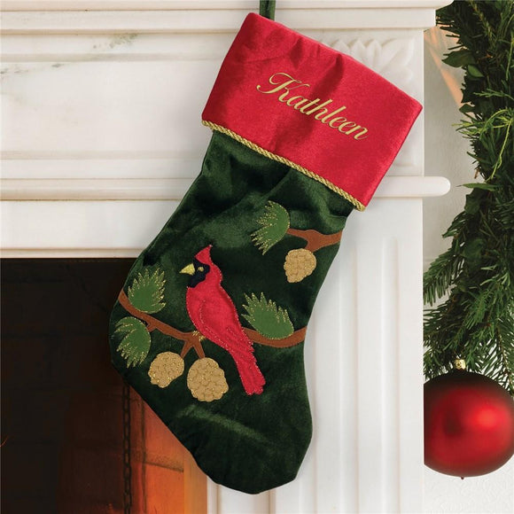 Embroidered Green Cardinal Stocking-Personalized Gifts