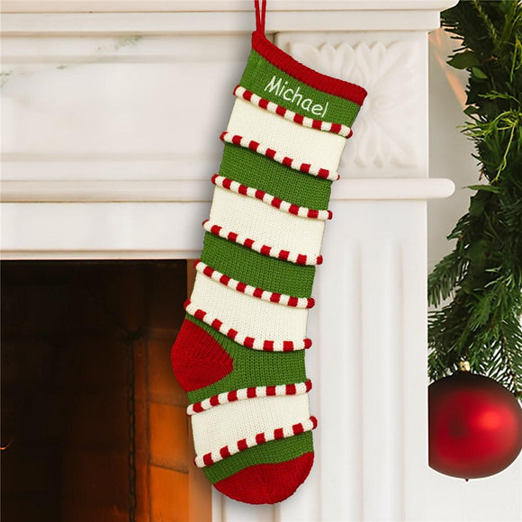 Embroidered Green Striped Stocking-Personalized Gifts