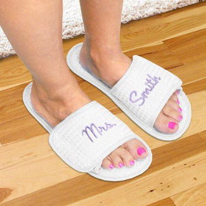 Embroidered Newlywed Waffle Weave Slippers-Personalized Gifts