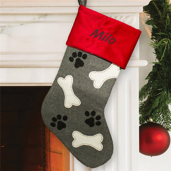 Embroidered Paw and Bone Stocking-Personalized Gifts