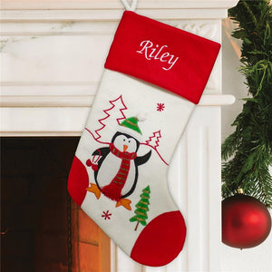 Embroidered Red and White Penguin Stocking-Personalized Gifts