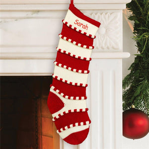 Embroidered Red Striped Stocking-Personalized Gifts