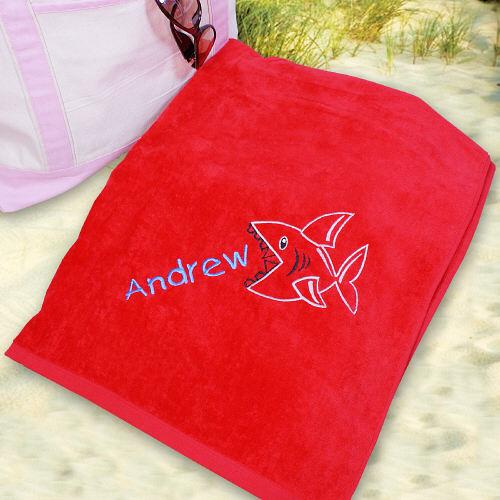 Embroidered Shark Beach Towel-Personalized Gifts