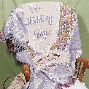 Embroidered Wedding Throw Blanket-Personalized Gifts