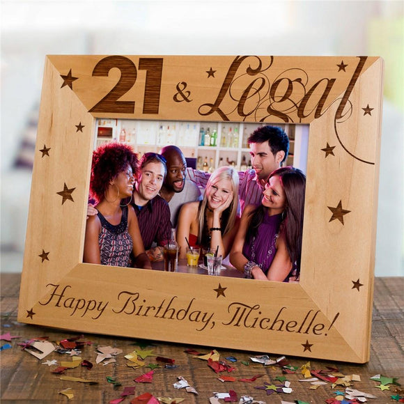Engraved 21st Birthday Wood Picture Frame-Personalized Gifts