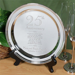 Engraved 25th Wedding Anniversary Silver Plate-Personalized Gifts