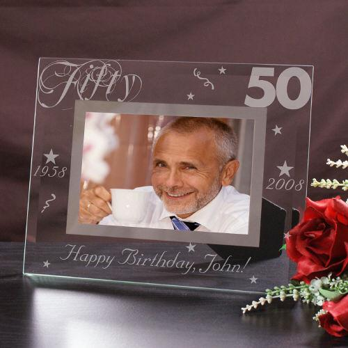 Engraved 50th Birthday Glass Picture Frame-Personalized Gifts