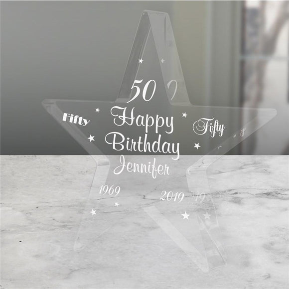 Engraved 50th Birthday Star-Personalized Gifts