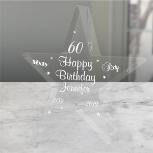 Engraved 60th Birthday Star-Personalized Gifts