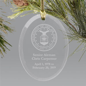 Engraved Air Force Memorial Ornament-Personalized Gifts