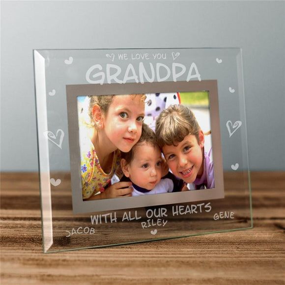 Engraved All Our Hearts Glass photo Frame-Personalized Gifts