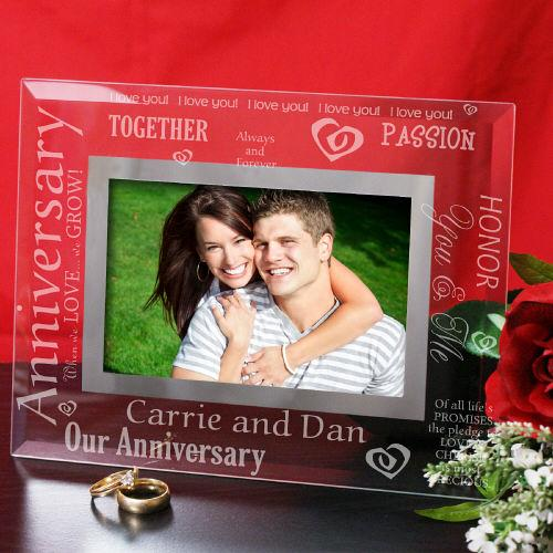 Engraved Anniversary Glass Picture Frame-Personalized Gifts
