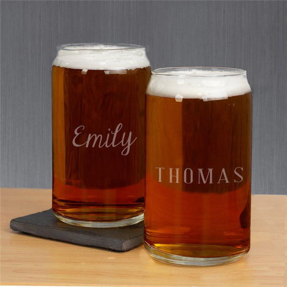 Engraved Any Name Beer Can Glass-Personalized Gifts