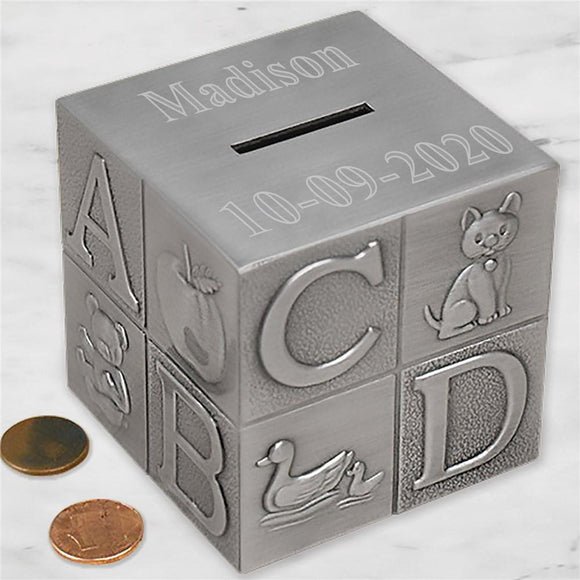 Engraved Baby Block Bank-Personalized Gifts