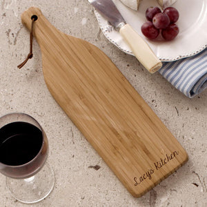 Engraved Bamboo Wine Bottle Cheese Cutting Board-Personalized Gifts