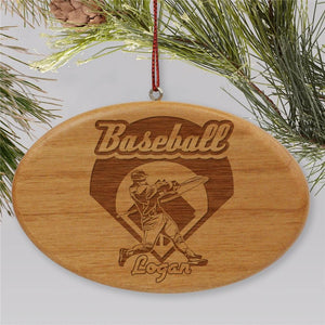 Engraved Baseball Wooden Oval Holiday Ornament-Personalized Gifts