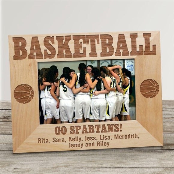 Engraved Basketball Wood Picture Frame-Personalized Gifts