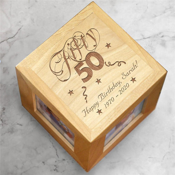 Engraved Birthday Photo Cube-Personalized Gifts