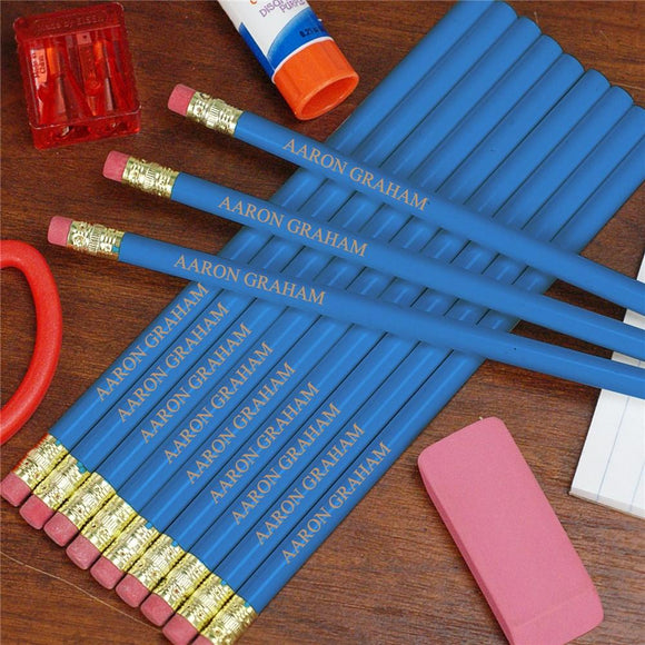 Engraved Blue School Pencils-Personalized Gifts