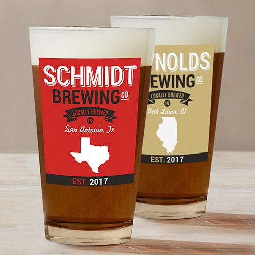 Engraved Brewing Co. Beer Glass-Personalized Gifts
