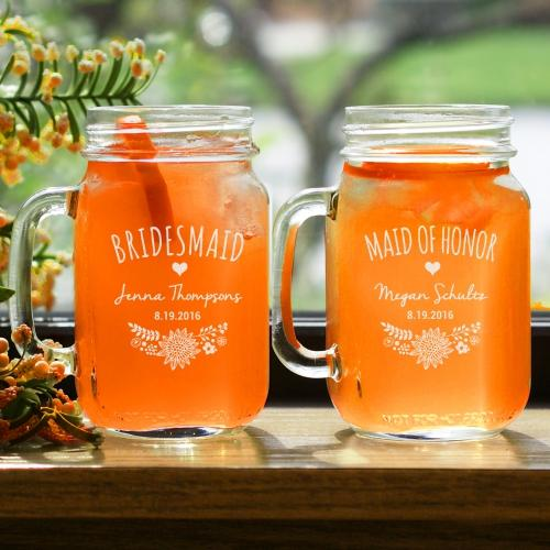 Engraved Bridal Party Mason Jar-Personalized Gifts