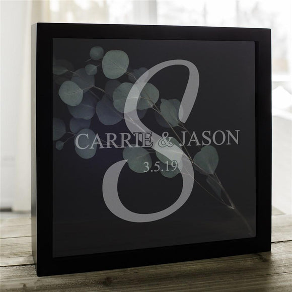 Engraved Bride and Groom Initial Shadow Box-Personalized Gifts