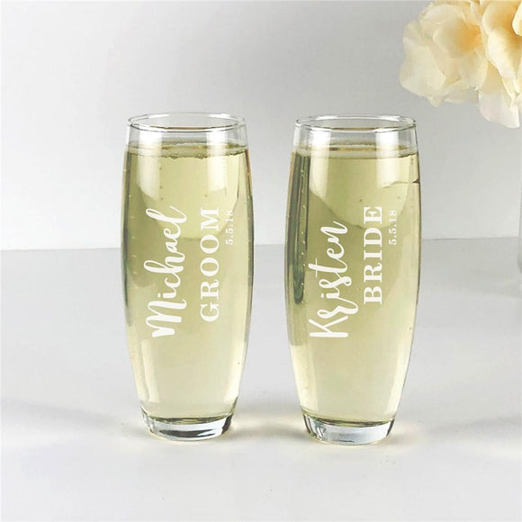 Engraved Bride and Groom Stemless Flute Set-Personalized Gifts