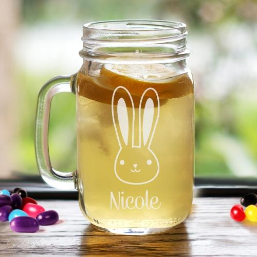 Engraved Bunny Mason Jar-Personalized Gifts