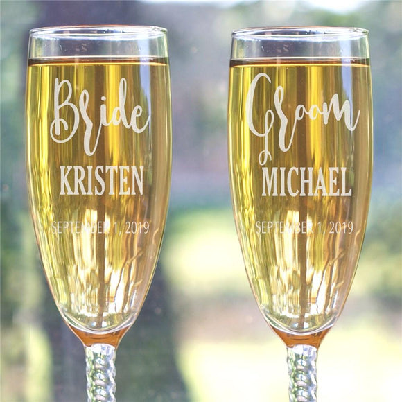 Engraved Champagne Flute Set-Personalized Gifts