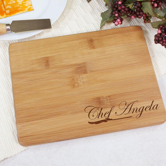 Engraved Chef Bamboo Cheese Board-Personalized Gifts