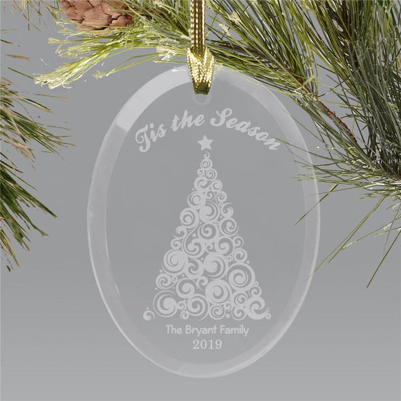 Engraved Christmas Tree Holiday Ornament-Personalized Gifts