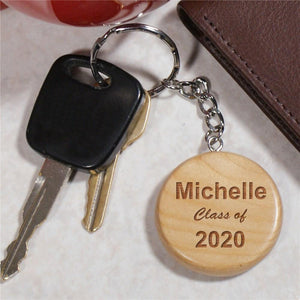 Engraved Class Of Wood Round Key Chain-Personalized Gifts