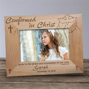Engraved Confirmation Wood Picture Frame-Personalized Gifts