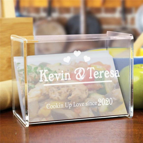 Engraved Cookin Up Love Acrylic Recipe Box-Personalized Gifts