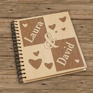 Engraved Couple's Wood Photo Album-Personalized Gifts