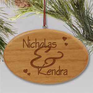 Engraved Couples Wooden Oval Christmas Ornament-Personalized Gifts