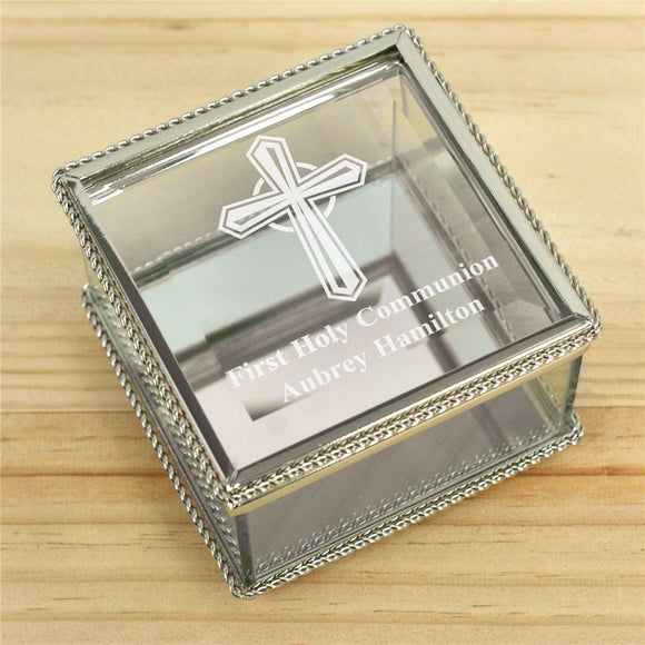Engraved Cross First Communion Glass Jewelry Box-Personalized Gifts