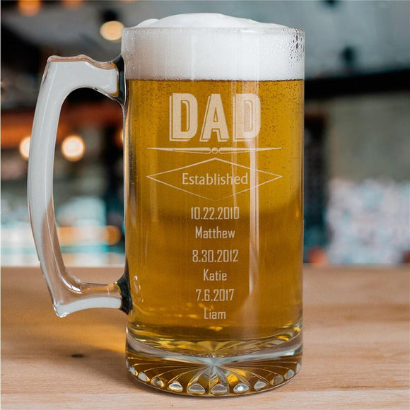 Engraved Dad Glass Mug-Personalized Gifts