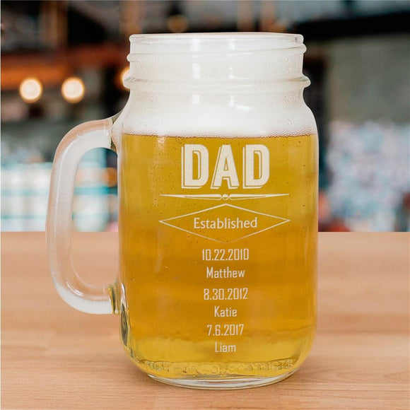 Engraved Dad Mason Jar-Personalized Gifts