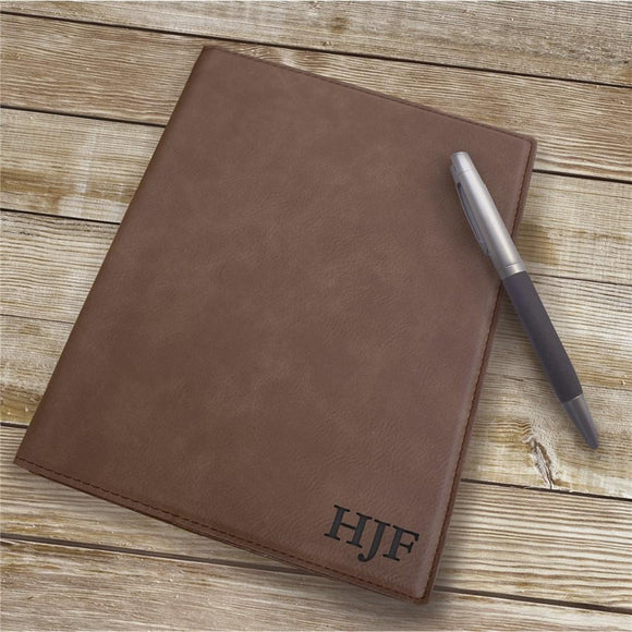 Engraved Dark Brown 3 Initial Portfolio-Personalized Gifts