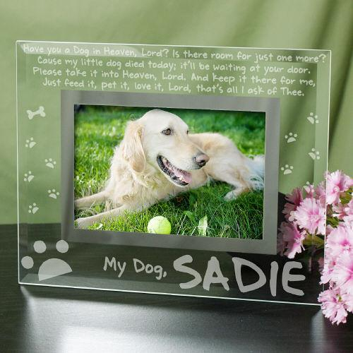 Engraved Dog Memorial Glass Picture Frame-Personalized Gifts