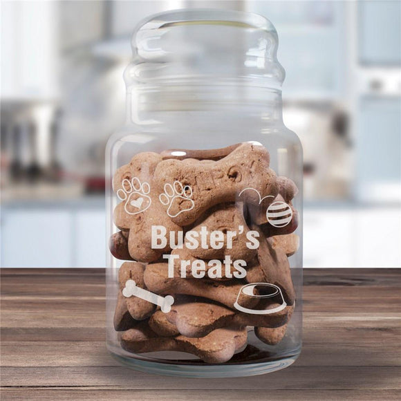 Engraved Dog Treat Glass Jar-Personalized Gifts
