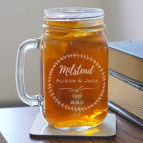 Engraved Engagement Mason Jar-Personalized Gifts