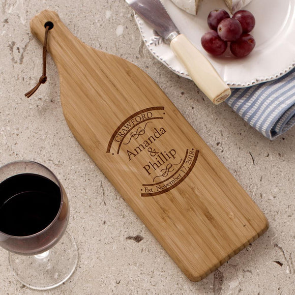 Engraved Established In Wine Bottle Cutting Board-Personalized Gifts