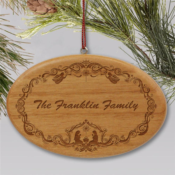 Engraved Family Nativity Christmas Wooden Oval Holiday Ornament-Personalized Gifts