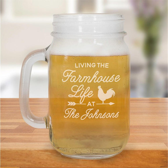Engraved Farmhouse Life Mason Jar-Personalized Gifts