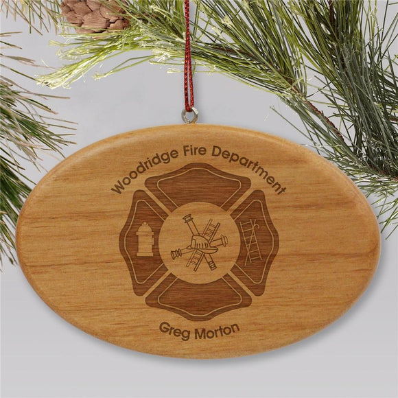 Engraved Fire Department Wooden Oval Christmas Ornament-Personalized Gifts