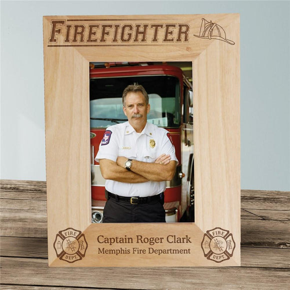 Engraved Firefighter Wood Picture Frame-Personalized Gifts