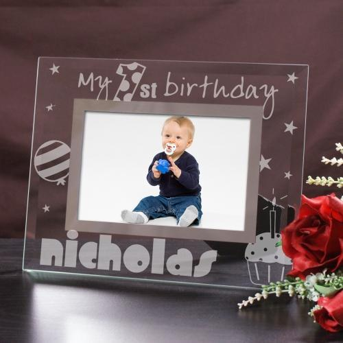 Engraved First Birthday Glass Picture Frame-Personalized Gifts